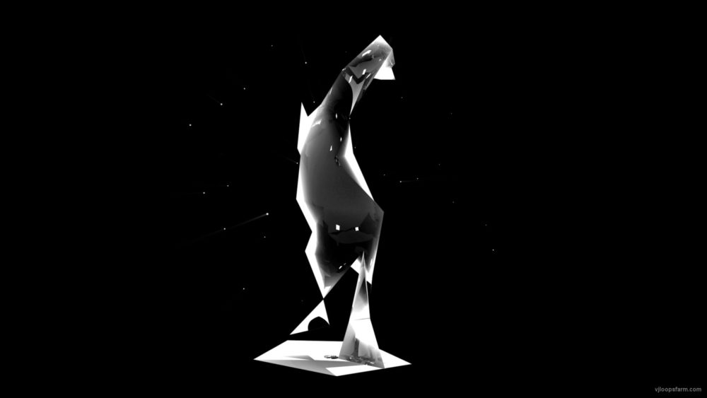 vj video background Black-Horse-Statue-Holographic-VJ-Loop-LIMEART_003