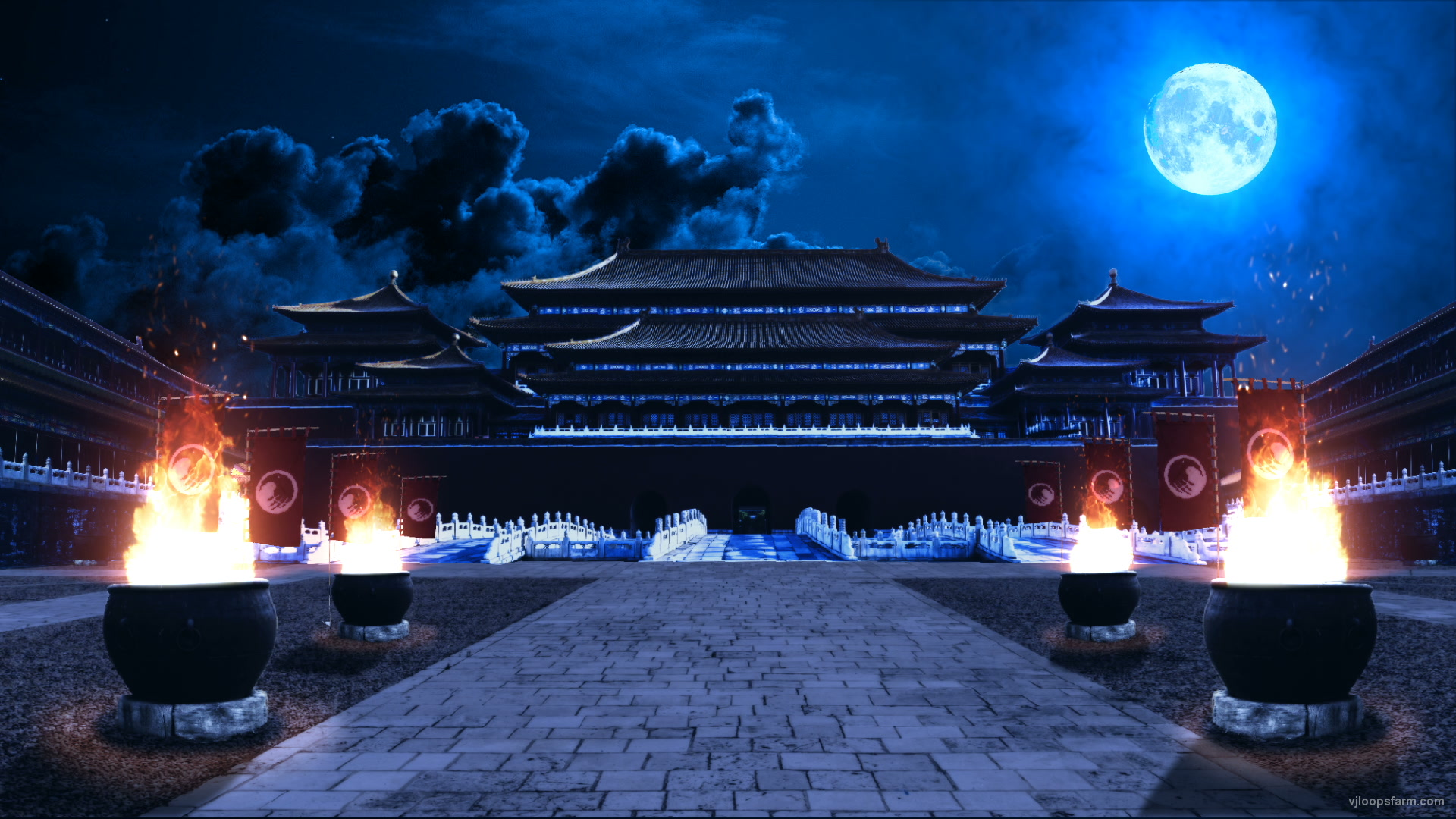vj video background Traditional-Chinese-temple-buildingin-a-night_1920x1080_29fps_VJ_Loop_LIMEART_003