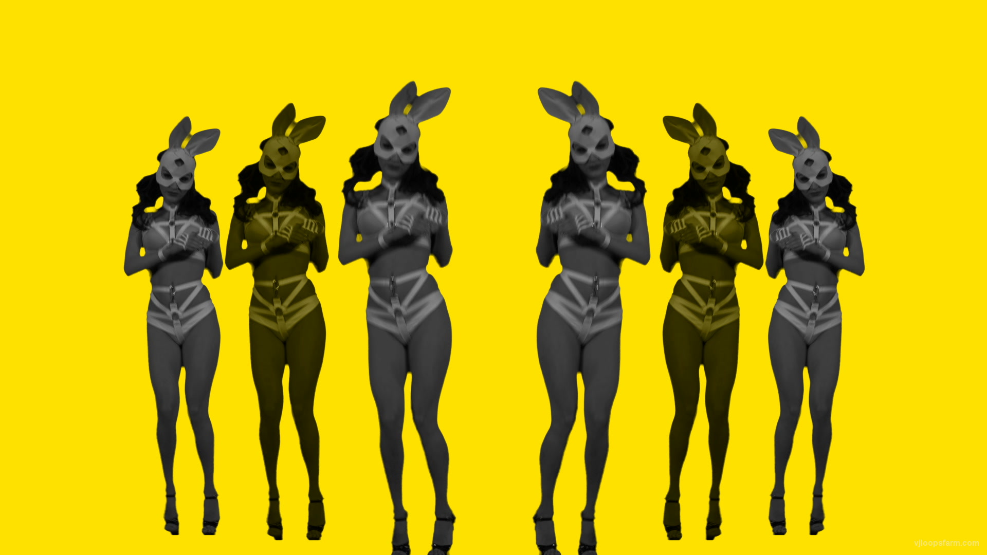 vj video background Rabbit-Power-Yellow-Avatar-Frau-1920x1080_29fps_VJLoop-Nektar-Digital_003