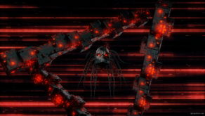 vj video background Black_Flying_Cyborg_Head_Red_Burning_Sparkling_Techno_Futuristic_Triangle_Full_HD_VJ_Loop_003