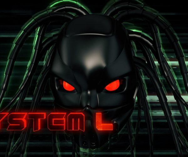 vj video background Black_Flying_Cyborg_Head_Red_Futuristic_Sign_System_Failure_Full_HD_VJ_Loop-1_003