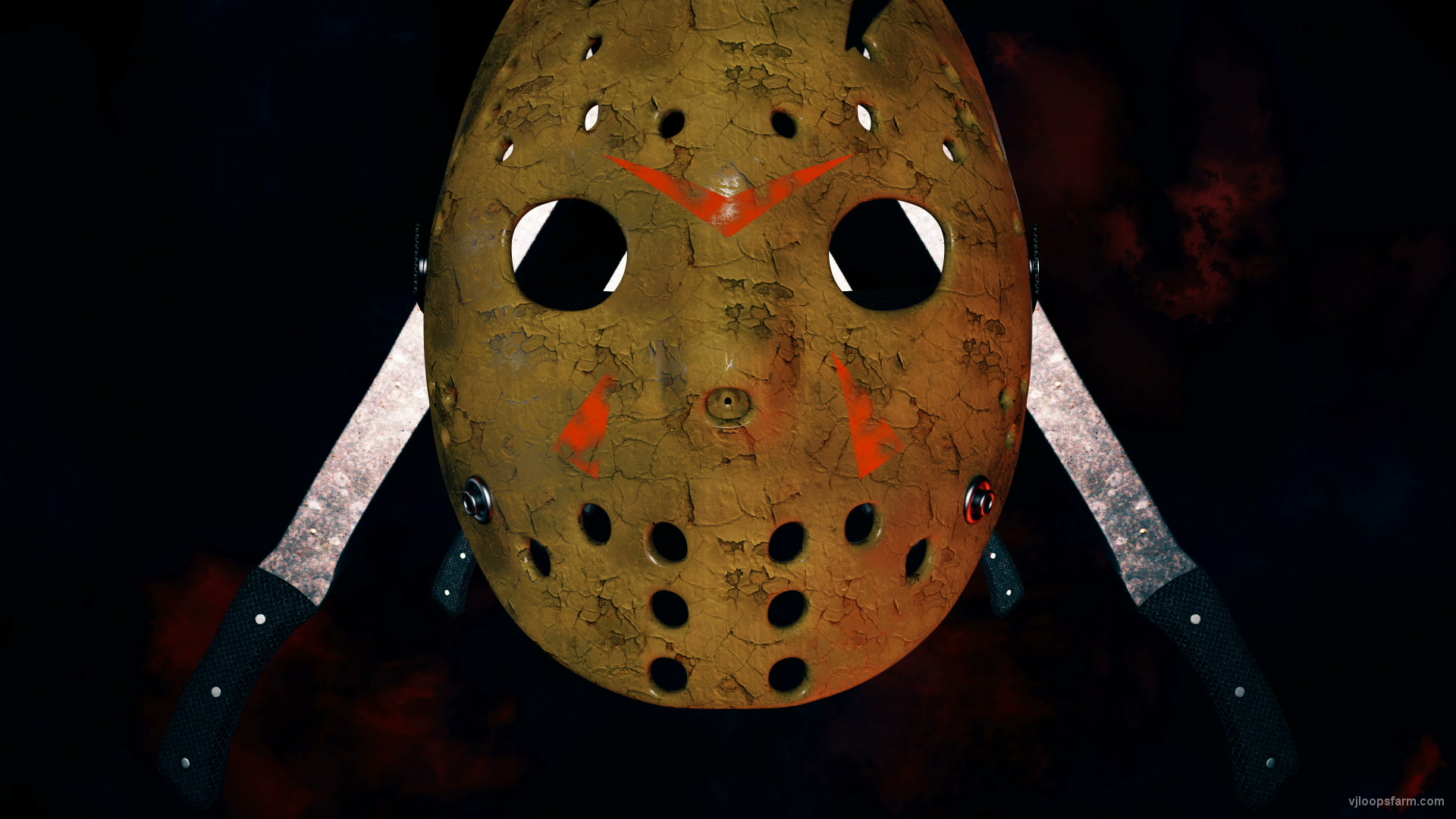 vj video background Flying_Jason_Hockey_Mask_Horror_Movie_Killer_Willain_Knife_Corridor_Full_HD_VJ_Loop_003