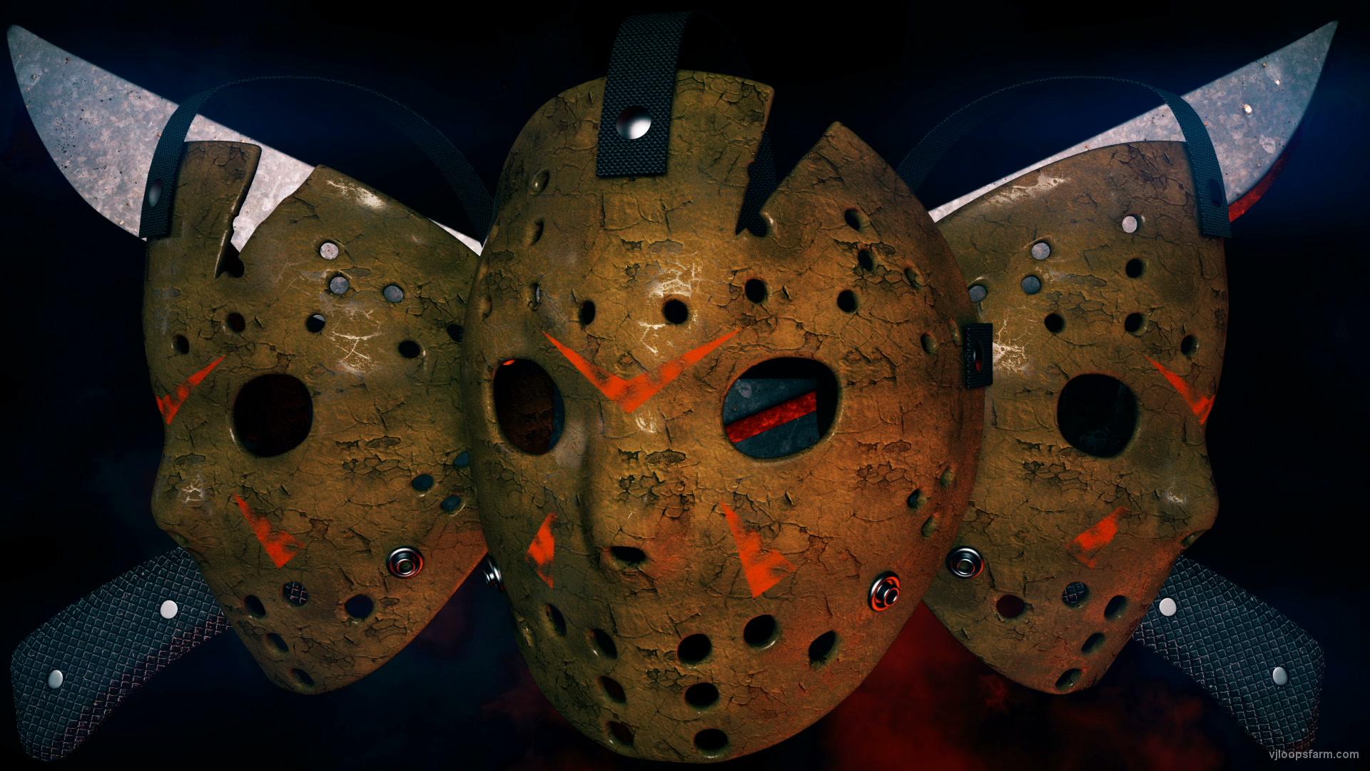 vj video background Jason_Three_Hockey_Masks_Knives_Horror_Movie_Killer_Willain_Full_HD_VJ_Loop_003