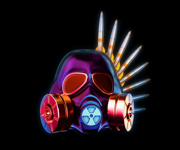 vj video background Metallic_Silver_Shiny_Gas_Mask_Warhead_Missile_Crown_Full_HD_VJ_Loop_003