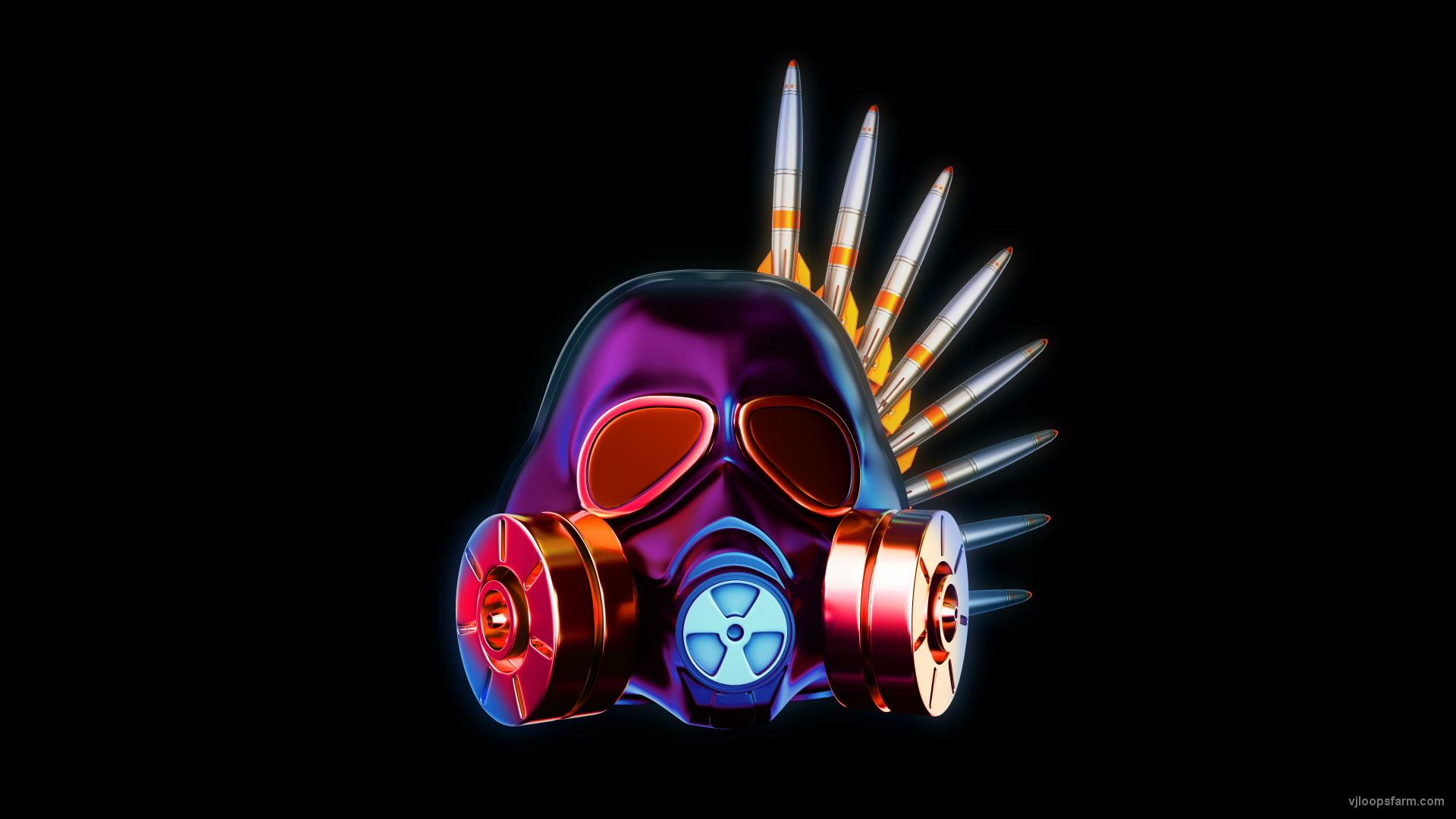 vj video background Metallic_Silver_Shiny_Gas_Mask_Warhead_Missile_Crown_Full_HD_VJ_Loop_003