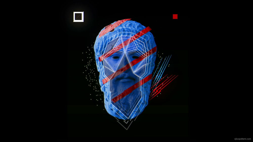 vj video background Checkered-Greece-Face-Plato-animation-effect-on-black-motion-background-vj-loop_003