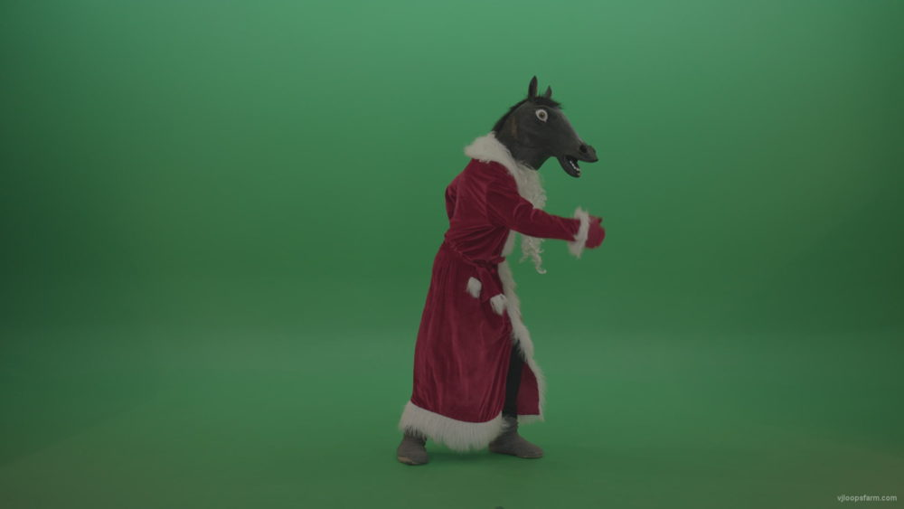 vj video background Creepy-horse-head-santa-dances-over-chromakey-background_003