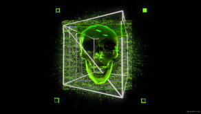vj video background Green-Skull-in-cuboid-animation-effect-on-black-motion-background-vj-loop_003