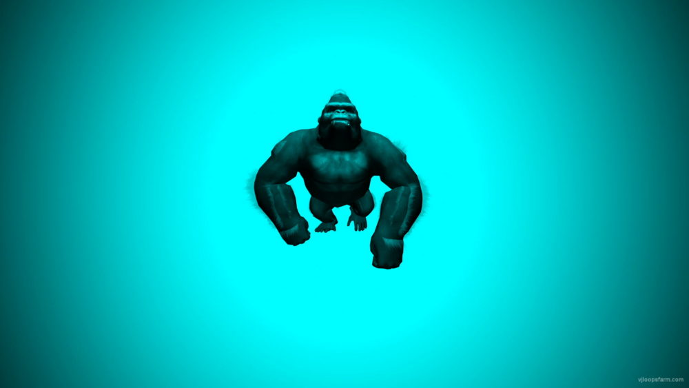 vj video background 3D-animation-Gorilla-Trio-cyan-Strobing-background-VJ-Loop-LIMEART_003