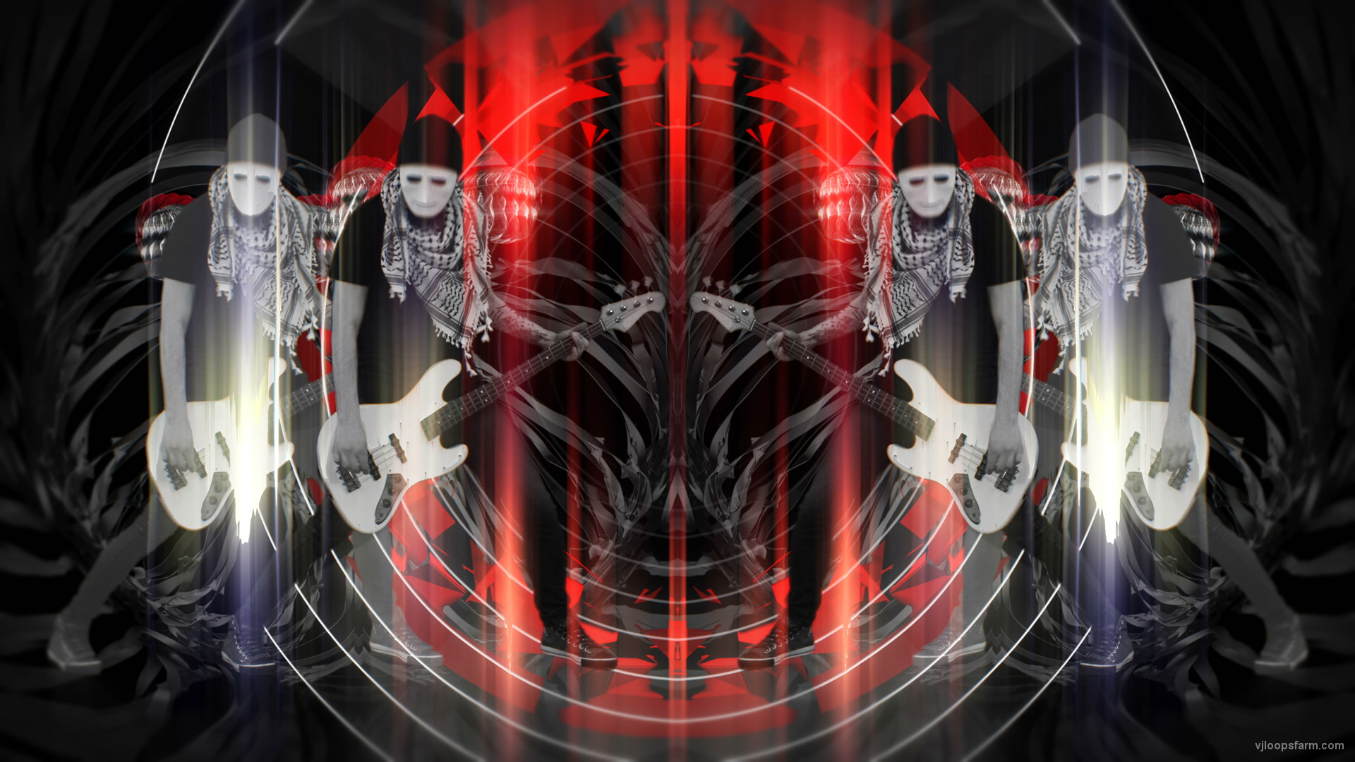 vj video background Bass-man-Guitarist-in-white-mask-play-guitar-bass-pixel-sorted-evil-Vj-Loop_003