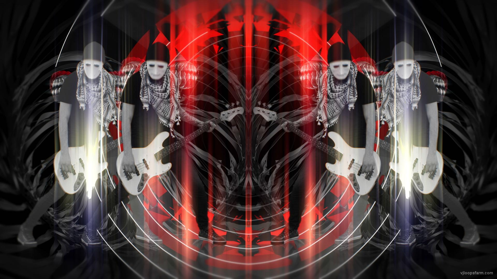vj video background Bass-man-Guitarist-in-white-mask-play-guitar-bass-pixel-sorted-evil-Vj-Loop_003