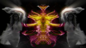 vj video background Dual-Eva-Glitch-Spirit-dancing-on-fiery-effect-background-1_003