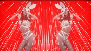 vj video background Dual-Rabbit-costumed-cute-woman-dancing-in-strobing-background-LIMEART-VJ-Loop_003