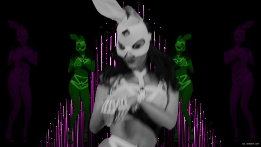 vj video background Multi-Rabbit-costumed-cute-woman-dancing-in-strobing-background-LIMEART-VJ-Loop_003