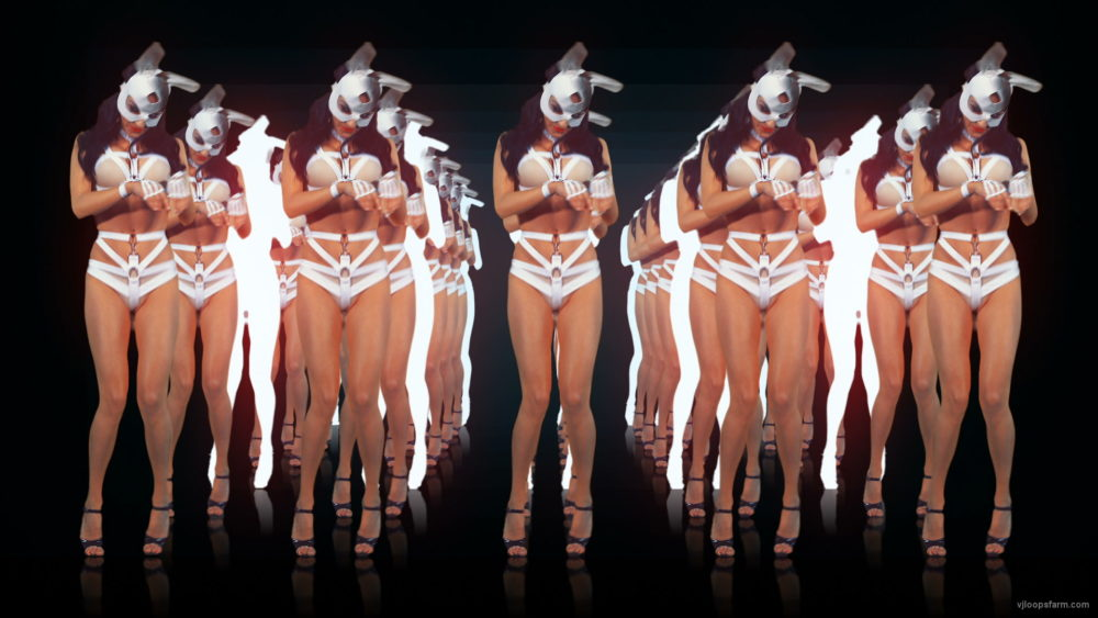 vj video background Multiple-sexy-female-disco-gogo-dancer-in-rabbit-costume-hops-on-black-and-red-background-LIMEART-VJ-Loop_003