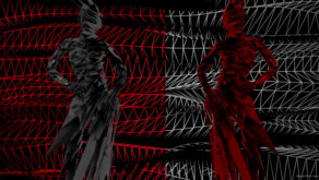 vj video background Red-white-polygonal-animated-3d-model-on-wire-motion-background-glitch-video-art-vj-loop_003