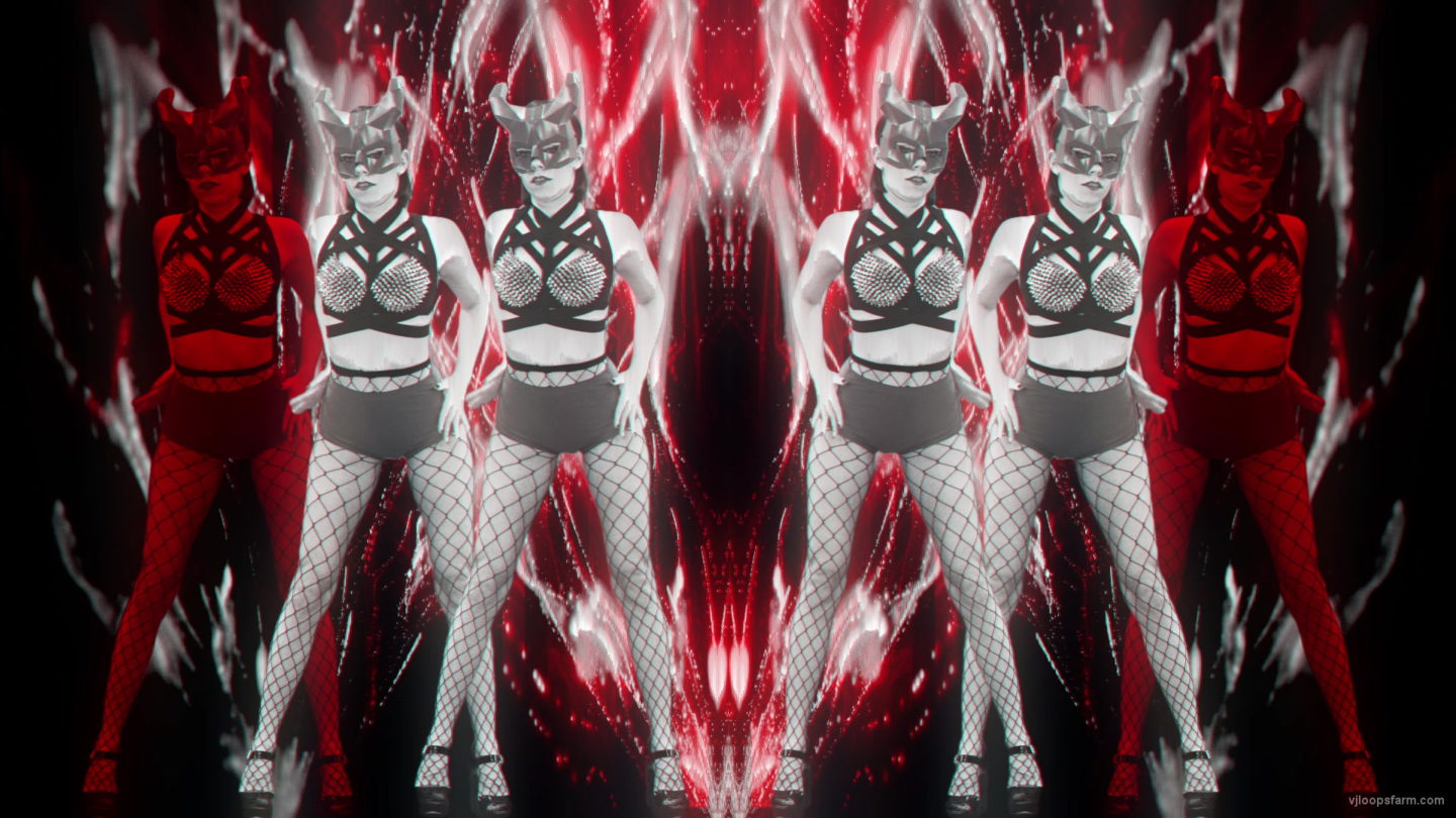vj video background Red-Evil-Halloween-Girls-Trio-Go-Go-Dancing-Video-Art-VJ-Loop_003