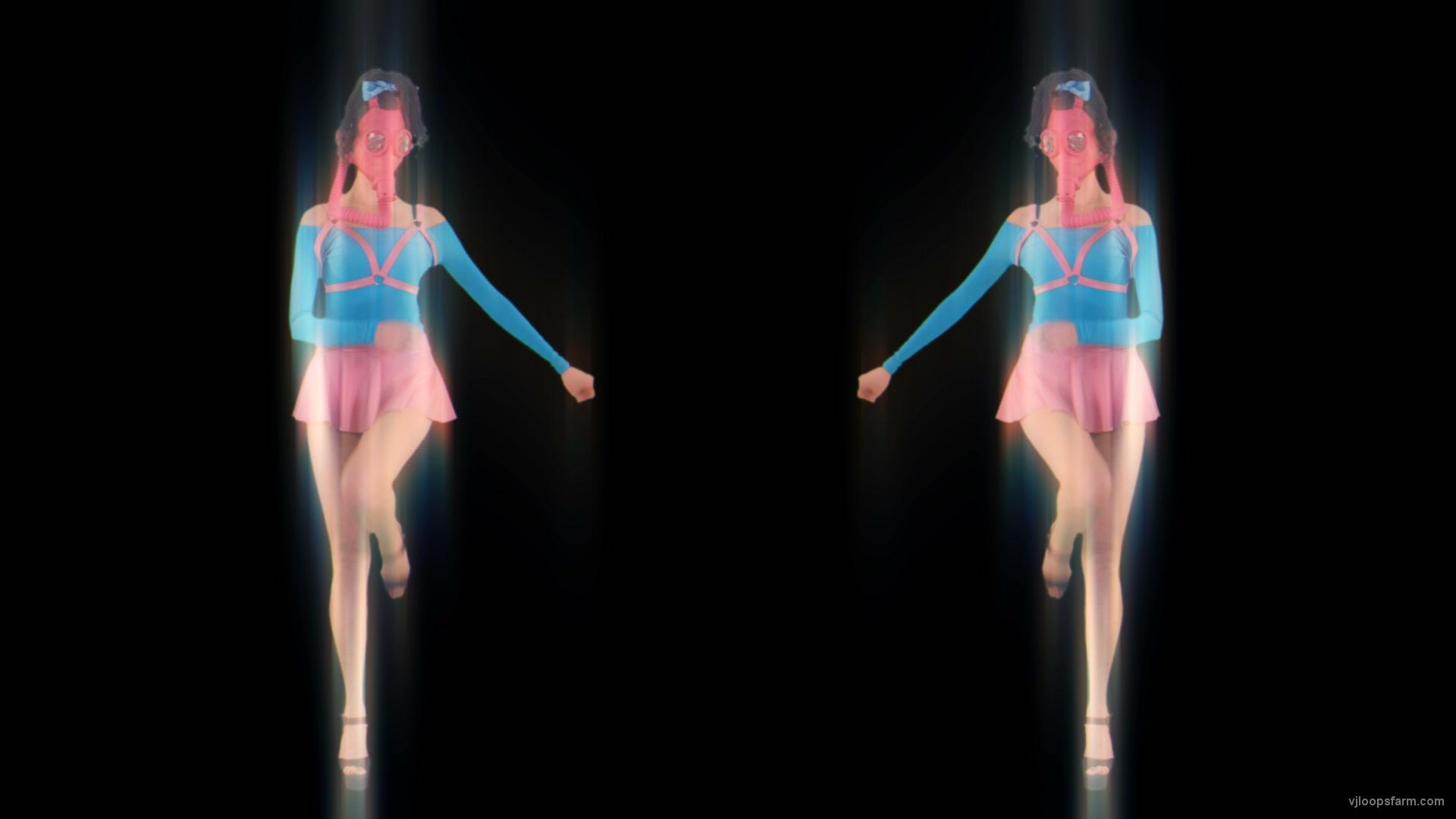 vj video background Side-Decor-Chornobyl-Glamour-Girls-marshing-with-glowing-effect-Video-art-vj-loop_003