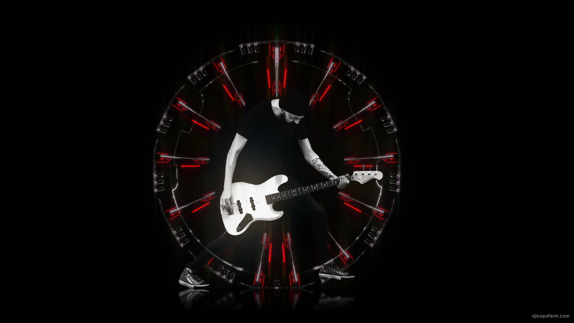 vj video background Bass-Rock-Man-Guitarist-in-Techno-Stage-Gate-Visual-Video-Art-VJ-Loop_003