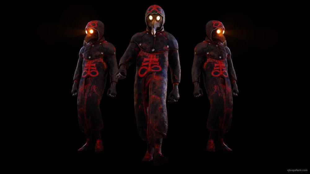vj video background Glowing-Light-Eyes-Army-of-Halloween-walking-plague-doctor-in-Ultra-HD-Video-Art-VJ-Loop_003
