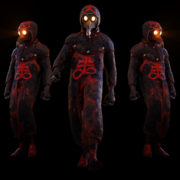 vj video background Glowing-Light-Eyes-Army-of-Halloween-walking-plague-doctor-in-Ultra-HD-Video-Art-VJ-Loop_003