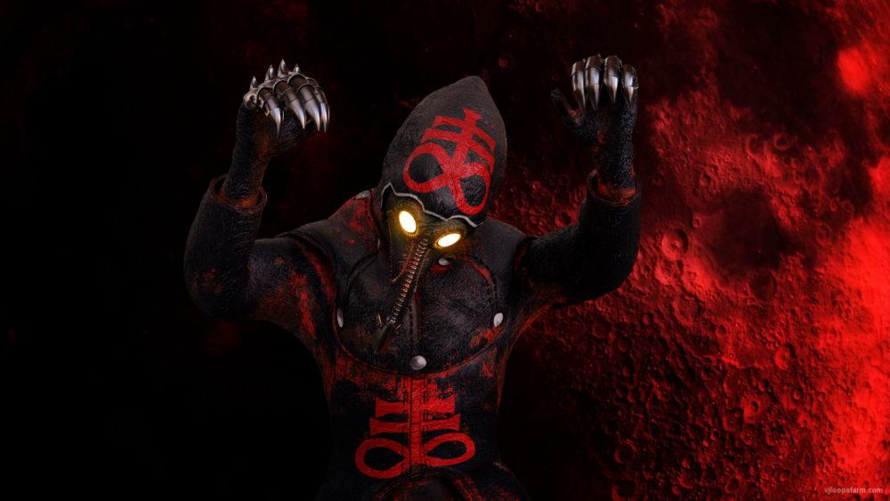vj video background Head-attack-by-Plague-Venetian-Doctor-Red-Acid-Halloween-Video-UHD-VJ-Loop_003