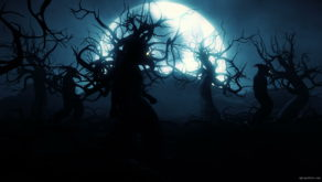 vj video background Plague-Doctor-Army-walking-under-the-moon-light-in-horror-black-wood_003