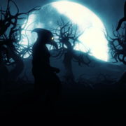 Plague-Doctor-Army-walking-under-the-moon-light-in-horror-black-wood_005 VJ Loops Farm