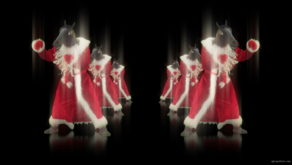 vj video background Horse-head-santa-displays-his-boxing-fighting-skills-isolated-on-black-background-holographic-video-art-VJ-Loop_003