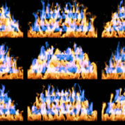 Fire-Pyramid-Blue-Yellow-Flame-Video-Art-VJ-Loop VJ Loops Farm