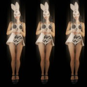 vj video background Five-jumping-Girls-in-Bunny-Mask-isolated-on-Black-background-4K-Video-Art-VJ-Loop_003