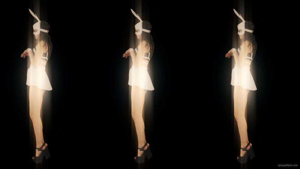 vj video background Rotating-Trio-Girl-team-Rabbit-Mask-Jump-4K-Video-Art-Vj-Loop_003