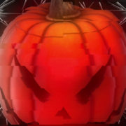 Carved Halloween pumpkin with lights on background. Dark key footage in UltraHd