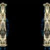 Dual graphic goldplated pillars shape on black background Wallpaper
