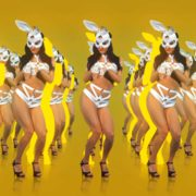 jumping rabbit girl in playboy costume go go dancing woman video vj loop