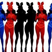 jumping rabbit girl in playboy costume go go dancing woman