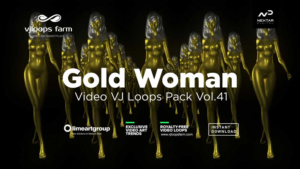 Gold-Woman-3D-Animation-VJ-loop