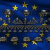european union flag army 3d animation video footage vj loop