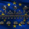 european union flag army 3d animation video footage vj loop