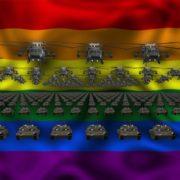 lgbt flag army 3d animation video footage vj loop
