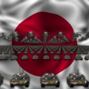 japan flag army 3d animation video footage vj loop