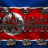 north korea flag army 3d animation video footage vj loop