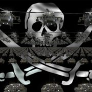 pirate flag army 3d animation video footage vj loop