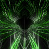 Green 3d rendering of a cogwheel formed tunnel in the black backgroundstar needles_vj_loops_Layer
