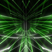 Green rendering of a cogwheel formed tunnel in the black background star needles_vj_loops_Layer