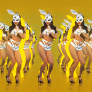 bunny dancing jumping girl video art