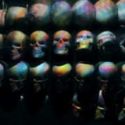 Multicolored Head Skulls rotation and animation scan. Loop-able black background visuals_vj_loops_Layer