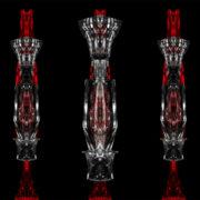 Penta columns metamorphosing amorphous shape on black background Wallpaper