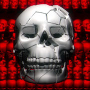 Pile of skulls. Apocalypse and hell concept. Realistic cinematic 4k animation. visuals vj loops Layer