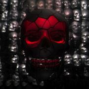 Red Digital Skull wire frame Animation halloween visuals_vj_loops_Layer